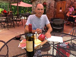 Charcuterie on the Patio with a Nice Bottle of Red