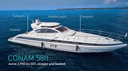 SPECIAL OFFER: refitted Conam 58, up to 10 guests, Seabob, based near Cannes, euros 2,900 inc VAT and skipper