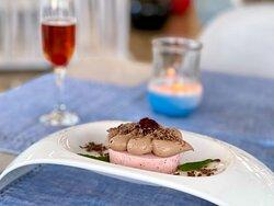 Modern Greek Dining Dessert Eros (Chocolate Milk Mousse, Strawberry Bavarois)