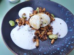 entrée (pas dans le menu 39€, mais dans le menu lunch de semaine, mais ils l'ont fait sur ma demande) : œuf mollet, fèves, crème de parmesan, girolles