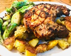 Today Thursday, July 22nd the grill will be open 3:30 PM to 7:30 PM the bar will stay open till 10 PM or later? Pork chop dinner one of tonight's dinner specials!