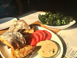 First Course: Sweet Potato Bread with Heirloom Tomatoes and smoked corn aioli and flash fried collards