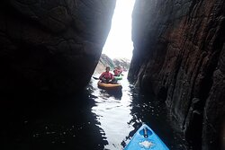 Interesting rock formations to paddle through