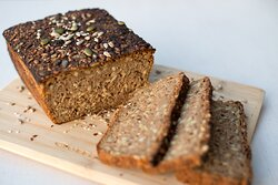 Homemade black bread with seeds
