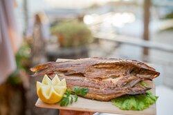 Fresh smoked Lubina fish