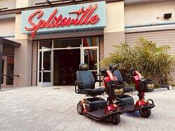 Gold Mobility Scooter rental at Walt Disney World Disney Springs Rent a mobility scooter for Walt Disney World Vacation ay goldmobilityscooters.com