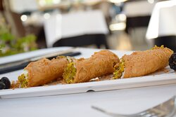 Cannoli siciliano de pistacho. Restaurante Pizzería Sorelle D´Italia, Los Alcázares