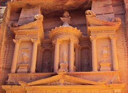 """A memory from a visit to Petra, Jordan.  """"The Treasury"""".  Hand carved by the inhabitants, the Nabataeans, possibly as early as the 5th century BC."""
