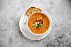 Gazpacho (G, SD) £ 12 Traditional Spanish cold soup made with red pepper, tomatoes, onion and cucumber.