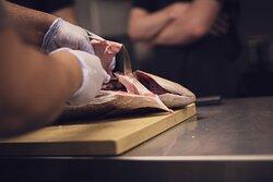 Our Chef making Kampachi cuts