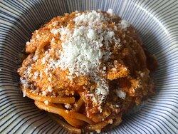Bucatini all' Amatriciana  Bucatini Pasta, Tomato sauce and italian Pancetta Bucatini Pasta, salsa de tomate y tocino
