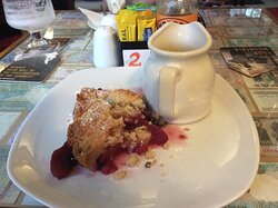 Mixed fruit crumble with jug of custard.  Takes some beating!