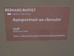 Musée Pierre BONNARD. Vue 11 Bis. Expo 26 Juin au 3 Oct 2021. Bernard BUFFET. Cartel de L'Autoportrait au Chevalet 1948. Juillet 2021. Le Cannet 06110.