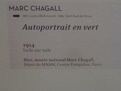 Musée Pierre BONNARD. Vue 10 Bis. Expo 26 Juin au 3 Oct 2021. Marc CHAGALL. Cartel de L'Autoportrait en Vert 1914. Juillet 2021. Le Cannet 06110.