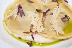 Wild mushroom ravioli, celeriac puree, tarragon oil