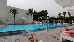Pool with Lounge Music and quality Sun Loungers