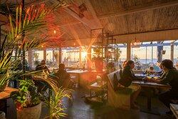 Manta Beach inside with sunset