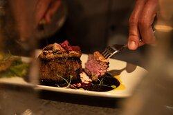 Seared foie gras & prime tenderloin.