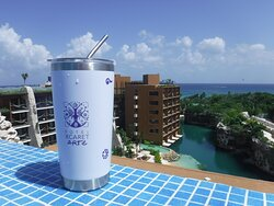 View from Piramide rooftop, with complementary tumbler
