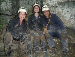 All smiles just after making our way out of the cave!
