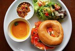 the classic smoked salmon bagel sandwich