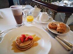Breakfast in the hotel's restaurant.
