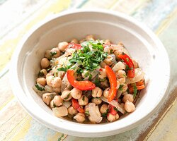 Chickpea Salad  Chickpea with roasted onions, red bell peppers, sun dried tomato