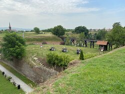 """From a distance an overview of the fortifications with the """"saluting battery"""" in the center"""