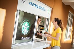 Connect Café Express Window – proudly brewing Starbucks® coffee