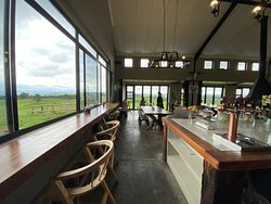 The picturesque window bar where customers can have an unobstructed view of the midlands and the Drakensburg mountains and at times interact with the cattle and alpacas!