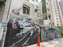 Several local and international artists have made their mark on the Tai Ping Shan Street walls. Many of the works were commissioned for the annual HKWALLS event. It pays to look down the lanes  running off Tai Ping Shan Street, where you'll find more works like this strange, exploding creature by Italian Artist, Barlo.