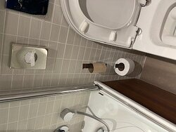 Cleaned yet the toilet roll not even placed?