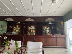 The main bar.Stools are removed due to Covid.