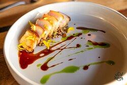Pork Belly: Fried Farro   Chicken Jus
