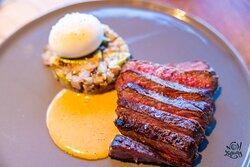 Washugyu Steak: Asparagus Salad   Poached Egged