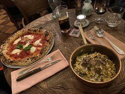 main courses- truffle pasta and salami pizza