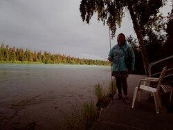 Fishing in the rain