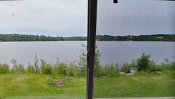 View of lake from master bedroom and living room
