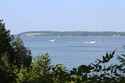 Sawyer Harbor from a scenic overlook in the park.