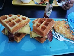 Waffles with eggs, turkey beacon and syrup with latte at IHop