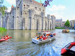 The Castle of the Counts plus tourist boats. Ben's Ghent - Free & Private Tours