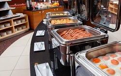 Hot station at breakfast buffet