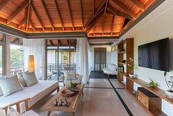 JA Manafaru - Three Bedroom Island Residence with Family Pool & Private Pool. Upper living area lounge.