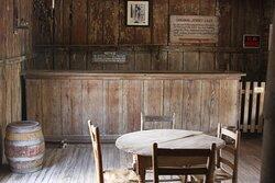 Inside Judge Roy Bean's saloon.