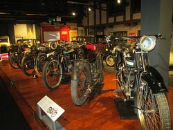 A display of motorbikes from different periods