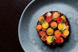 Roasted carrots, black rice and mushroom