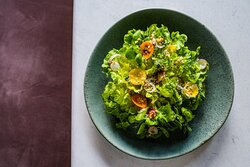 Salanova lettuces, green goddess, parmesan and crispy quinoa