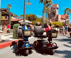 Gold Mobility Scooter Rental at Walt Disney World Hollywood Studio's them park in Orlando Florida. Best Mobility scooter rental service in the Orlando Florida Area.