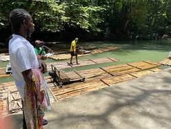 Odaine making sure we get on our rafts an the Martha Brae.