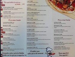 Nos pizzas, sans oublier nos salades et desserts maisons....